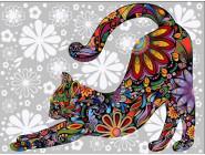 Цветочный кот (потягивающийся)
