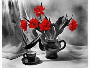 Цветы, натюрморты, букеты Кофе и алые маки