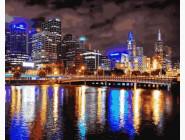 Городской пейзаж Мельбурн. Ночная Австралия