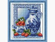 Цветы и натюрморы Вышивка крестом Идейка Натюрморт с клубникой (J045)
