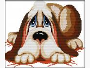 Наборы для детей Картина вышивка крестом Идейка Грустный пёсик (K263)