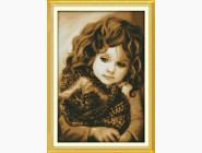Портреты, люди Набор для вышивки Идейка Девочка с котом (R321)