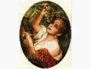 Портреты, люди Вышивка крестом Идейка Девушка с виноградом (R356)