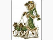 Портреты, люди Вышивание крестиком Идейка Дама с собачками (R435)