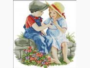 Вышивка с детками Набор для вышивки Идейка Детская дружба (R496)