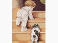 Вышивка с детками Набор для вышивки Идейка Первые шаги (R514) 37 х 44 см
