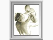 Дети, материнство Отец с малышом (квадратные камни, полная зашивка)