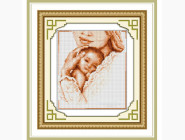 Дети, материнство Мать и ребенок (квадратные камни, полная зашивка)