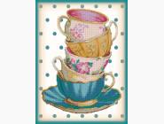 Картины для кухни  Картина бисером на холсте Идейка Стопочка чашечек (ВБ1053)