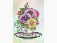 Цветы и натюрморты Картина бисером в рамке Идейка Анютины глазки (ВБ1055)