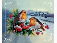 Вышивка с животными Картина бисером в рамке Идейка Снегири (ВБ2024)
