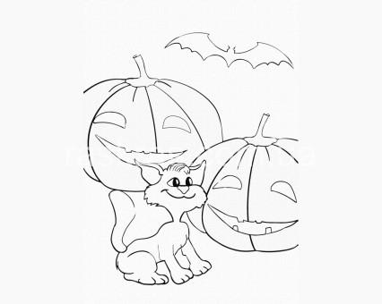 15508-AC Картинки раскраски для детей Тыквы и котик ArtCraft