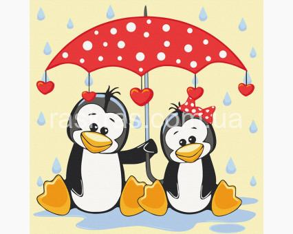 15543-AC картина по номерам без коробки Пингвины под зонтиком ArtCraft