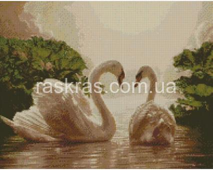 алмазная мозаика Пара лебедей