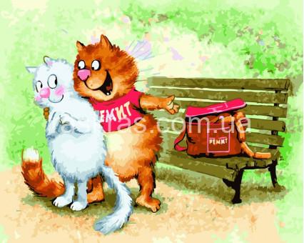 BK-GX22657 Картина по номерам Коты у лавочки (Без коробки)