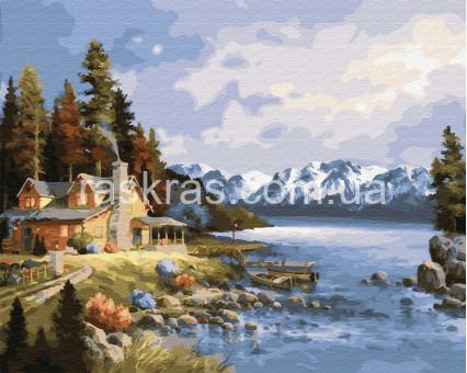 BK-GX23306 картина по номерам без коробки Домик у озера Rainbow Art