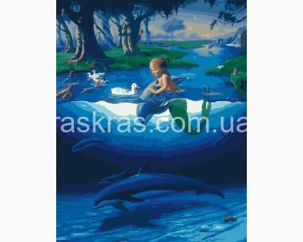 BK-GX28270 картина по номерам без коробки BK-GX28270 Картина по номерам Маленький русал с дельфинамы (Без коробки)  Rainbow Art