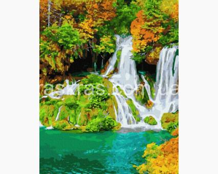 BK-GX36513 картина по номерам без коробки Осенний водопад НикиТошка