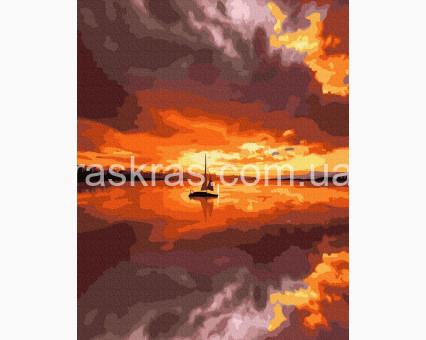 BK-GX39155 картина по номерам Парусник на закате НикиТошка