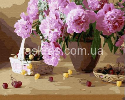 BK-GX3997 картина по номерам без коробки Розовые пионы в вазе Rainbow Art