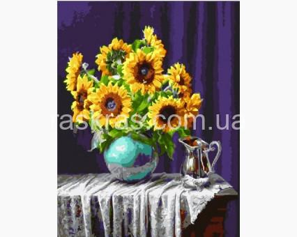 BK-GX5846 картина по номерам Подсолнухи и серебряный кувшин Brushme