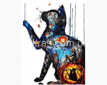 BRM23564 Картина по цифрам Загадочный котик (Без коробки)