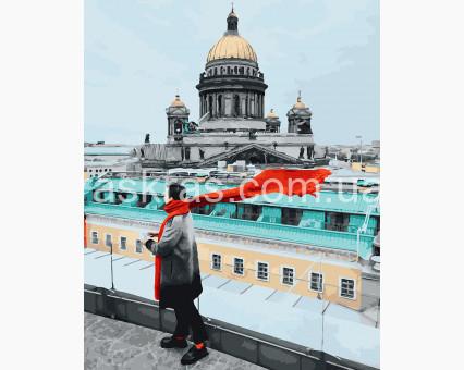 BRM26238 Картина раскраска Красный шарф Путешественник