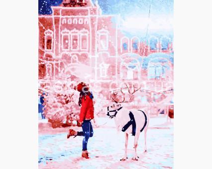 BRM26241 Картина раскраска Девушка с полярным оленем