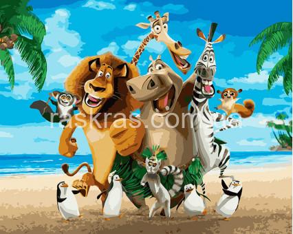 BRM26274 Картина раскраска Мадагаскар Веселая компания