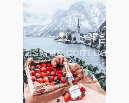 BRM26282 Картина раскраска Романтический пикник на фоне Альп