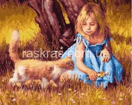 BRM27398 картина по номерам Девочка с кошкой Rainbow Art
