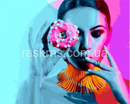 BRM27530 картина по номерам Дама и пончик Rainbow Art