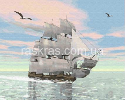 BRM29368 картина по номерам Корабль на рассвете Rainbow Art
