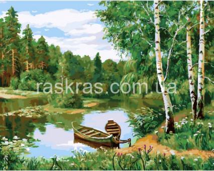 BRM3080 картина по номерам Лодки у берега Rainbow Art
