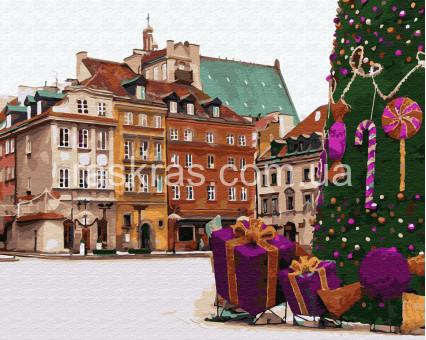 BRM33176 Раскраска по номерам Новогодняя Варшава BrushMe