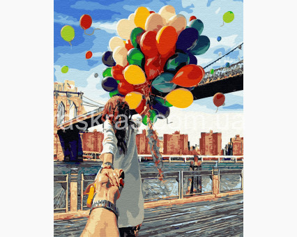 BRM4371 картина по номерам Следуй за мной. Бруклинский мост Raskraski