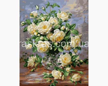 BRM439 картина по номерам Белые розы в вазе Rainbow Art
