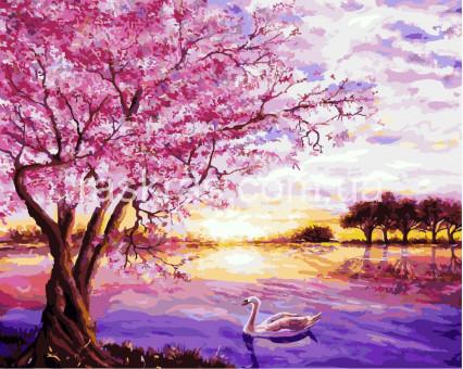 BRM8061 картина по номерам Закат в розовых тонах Brushme