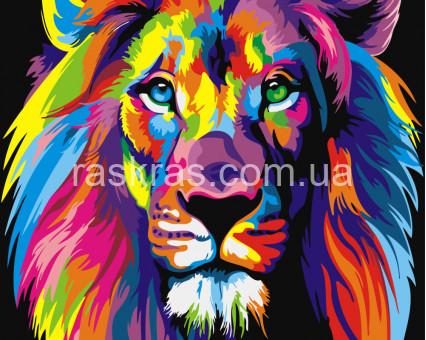 BRM8999 картина по номерам Радужный лев Raskraski