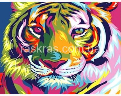 GU_189067 алмазная вышивка Радужный тигр (JA21295) Диамантовые ручки