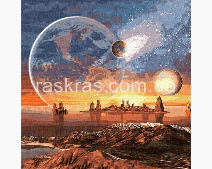 KH9541 картина по номерам Космическая пустыня с красками металлик Идейка