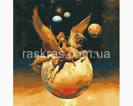 KH9542 картина по номерам Завоевательница космоса с красками металлик Идейка