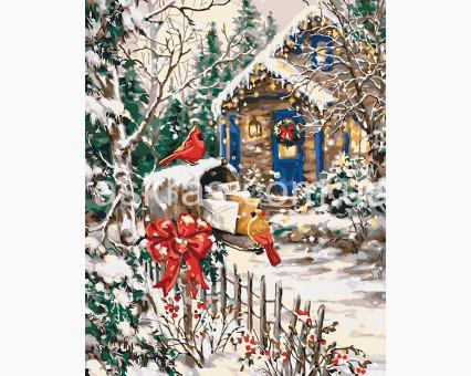 KHO2251 картина по номерам без коробки Зимняя сказка Идейка