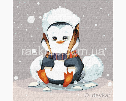KHO2372 Картины по номерам для детей Маленький пингвинчик Идейка