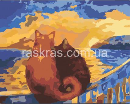 KHO2438 картина по номерам без коробки Коты на закате Идейка
