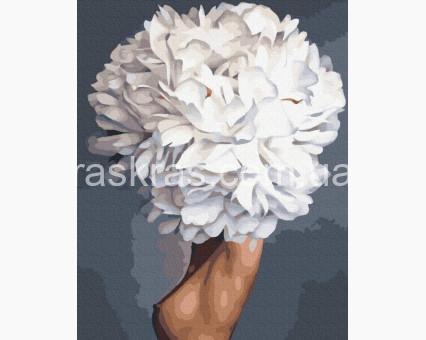 PGX36767 картина по номерам Девушка белый пион Brushme Premium