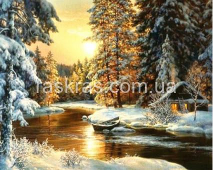 TN1021 алмазная вышивка Дом в снегу My Art