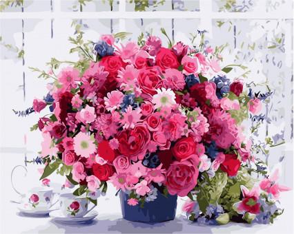 AS0115 картина по номерам Розовые хризантемы ArtStory
