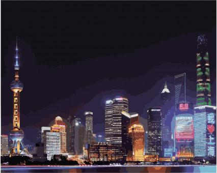 KH3507 Картина раскраска Ночной Шанхай Идейка