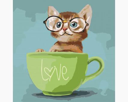 KHO4057 картина по номерам без коробки Любопытный котенок Идейка